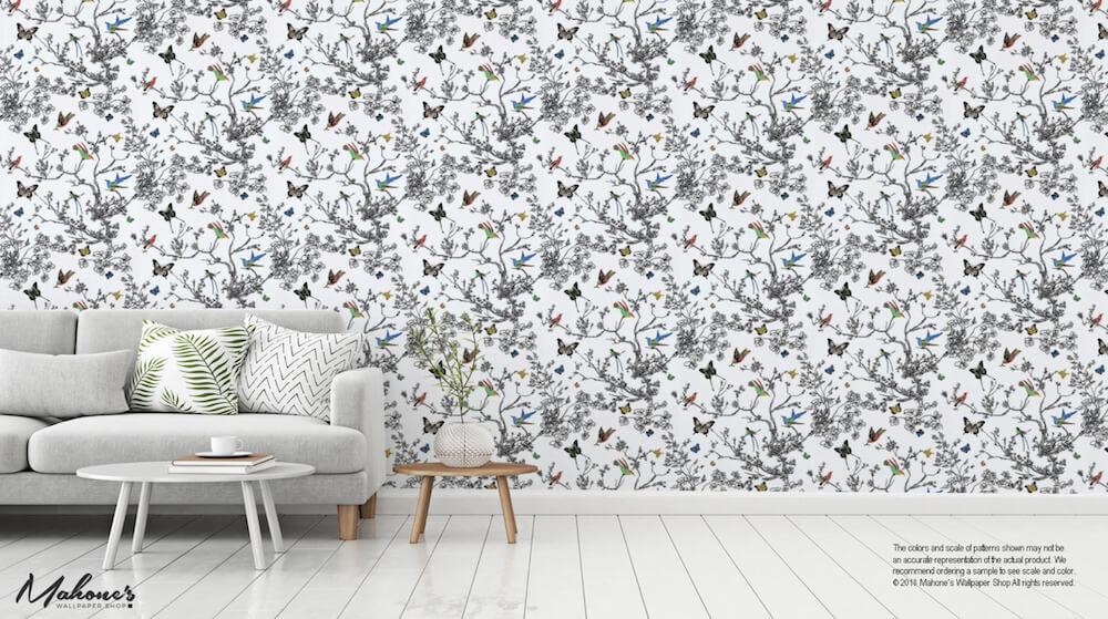 2704420 Birds Butterflies Multi On White Schumacher Wallpaper